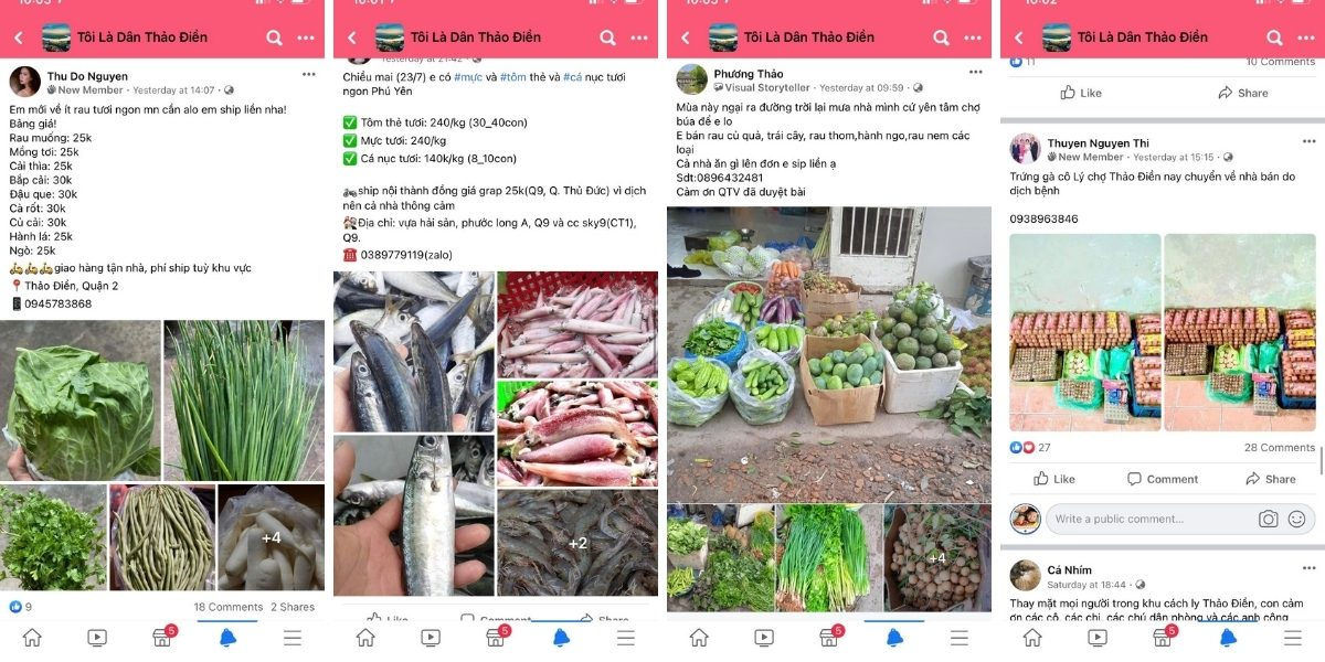 Vendors sell food in Facebook Group