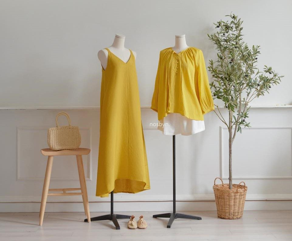Yellow maxi dress and long sleeve top