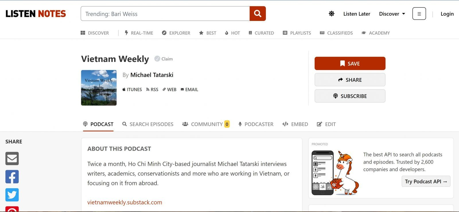 Vietnam Weekly podcast page