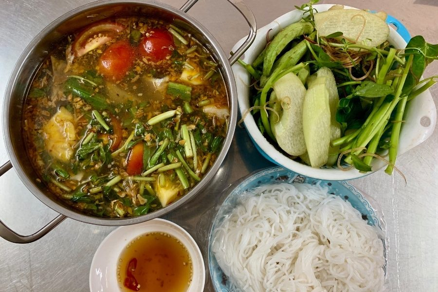 Hot Pot meal from a street side cafe in Hanoi