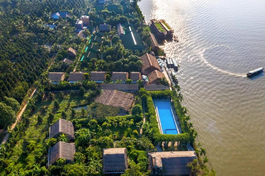 An interesting view from the sky of Mekong Lodge Resort
