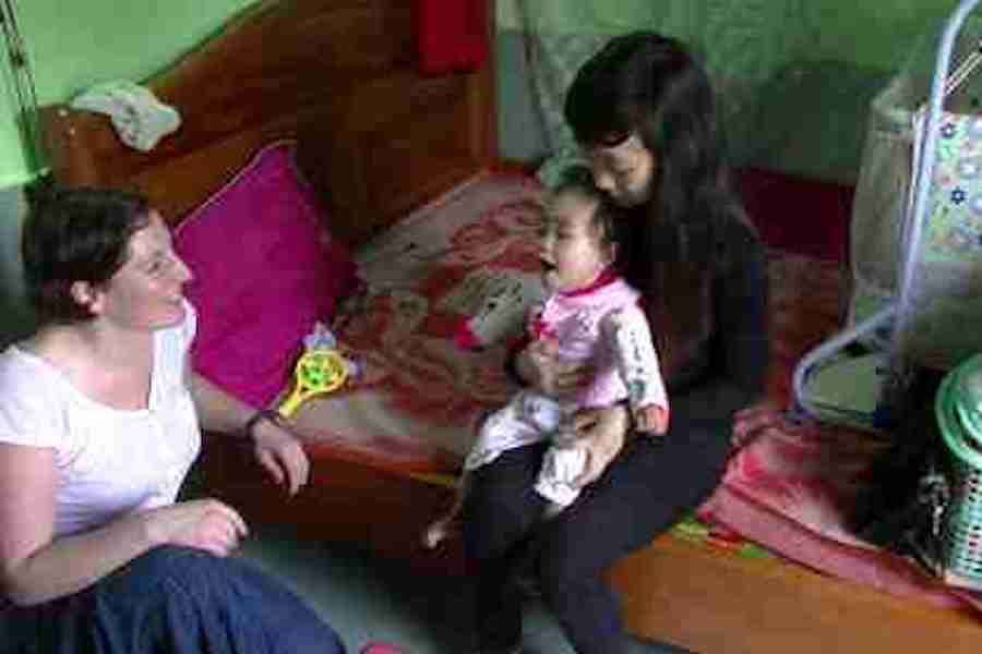 Home visit to observe and provide aids to help mobility for cp child